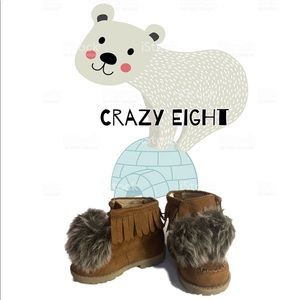 Fringed pom-pom toddler boots